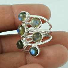 Pretty Labradorite Gemstone 925 Sterling Silver Ring Jewellery