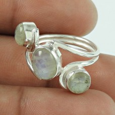 Lovely Rainbow Moonstone Indian Sterling Silver Ring Jewellery