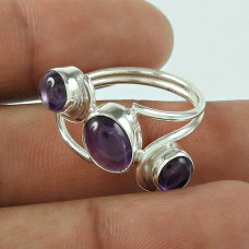 Graceful Amethyst Gemstone 925 Sterling Silver Ring Jewellery