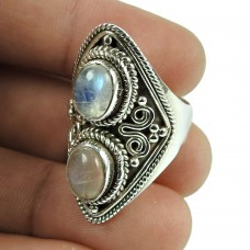 Stylish Rainbow Moonstone, Rose Quartz Gemstone Ring 925 Sterling Silver Antique Jewellery