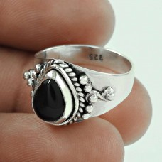 Scenic Black Onyx Gemstone Sterling Silver Ring Sterling Silver Jewellery