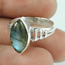 Scrumptious Labradorite Gemstone Sterling Silver Vintage Ring 925 Sterling Silver Jewellery