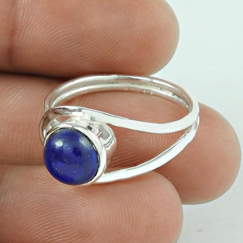 Handy 925 Sterling Silver Lapis Gemstone Ring Ethnic Jewellery