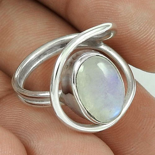 Antique look Rainbow Moonstone 925 sterling silver Wrap Ring