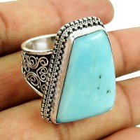 Stunning Larimar Gemstone Sterling Silver Ring 925 Silver Jewellery