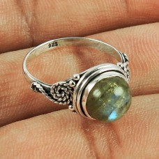 Rare Labradorite Gemstone Sterling Silver Ring Traditional 925 Sterling Silver Fashion Jewellery