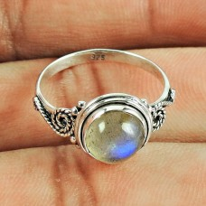 Fashion Labradorite Gemstone Ring 925 Sterling Silver Antique Jewellery