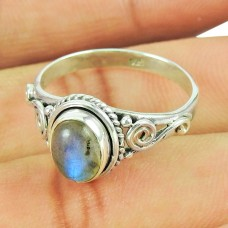 Party Wear Labradorite Sterling Silver Ring Sterling Silver Fashion Jewellery