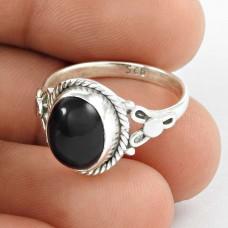 Delightful ! Black Onyx Gemstone 925 Sterling Silver Ring