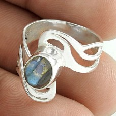 Engaging Labradorite Gemstone Sterling Silver Ethnic Ring 925 Sterling Silver Jewellery