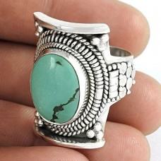 Pleasant Turquoise Gemstone 925 Sterling Silver Ring Exporter India