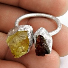 Plushy ! Citrine, Garnet Rough Stone Sterling Sterling Silver Ring
