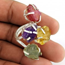 Breathtaking ! Citrine, Amethyst, Prehnite, Ruby Rough Stone Sterling Sterling Silver Ring