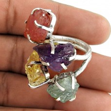 Circle of Hope ! Citrine, Amethyst, Prehnite, Ruby Rough Stone Sterling Sterling Silver Ring