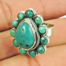 925 Sterling Silver Tibetan Jewellery Traditional Turquoise Gemstone Ring
