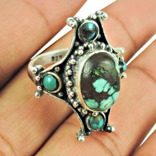 925 Sterling Silver Bohemian Jewellery Fashion Turquoise Gemstone Ring