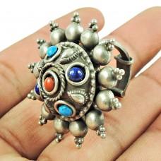 Oxidised Sterling Silver Bohemian Jewellery Beautiful Design Coral, Turquoise, Lapis Gemstone Ring Wholesaler