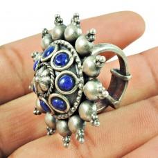 Oxidised Sterling Silver Jewellery Party Wear Lapis Gemstone Bohemian Ring