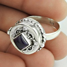 925 Sterling Silver Jewellery Daily Wear Amethyst Gemstone Poison Ring Exporter