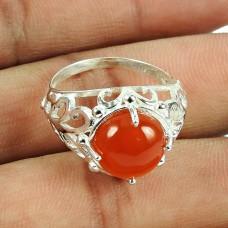 Indian Sterling Silver Jewellery Daily Wear Carnelian Gemstone Ring Wholesaling