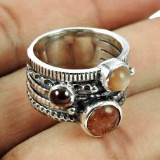 925 Sterling Silver Vintage Jewellery Daily Wear Garnet, Sunstone, Moonstone Gemstone Ring Hersteller