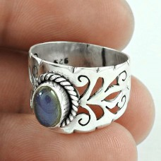 Excellent 925 Sterling Silver Labradorite Gemstone Ring Vintage Jewelry
