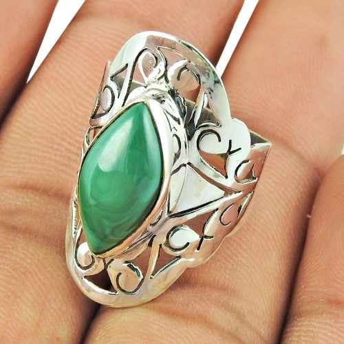 Amazing Silver Ring !! 925 Sterling Silver Malachite Gemstone Ring