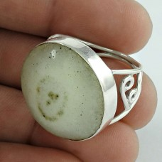 Stunning Natural Rich! 925 Silver Moon Solar Fossil Ring Wholesale