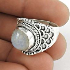 925 Sterling Silver Indian Jewellery Traditional Rainbow Moonstone Ring Fabricante
