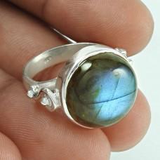 Classy Design! 925 Silver Labradorite Gemstone Ring