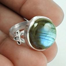 Beautiful 925 Sterling Silver Labradorite Gemstone Ring Jewelry