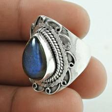 Royal Blue 925 Silver Labradorite Gemstone Ring