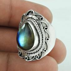 Big Royal Style! 925 Silver Labradorite Gemstone Ring
