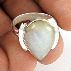 Indian Sterling Silver Jewellery Fashion Rainbow Moonstone Ring Wholesale Price