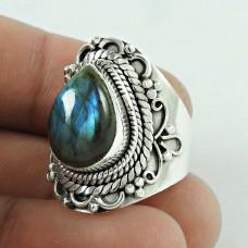 Simple! 925 Silver Labradorite Gemstone Ring
