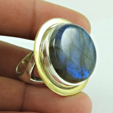 New Faceted! 925 Sterling Silver Blue Fire Labradorite Gemstone Ring