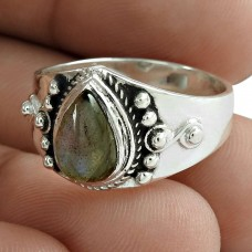 Rare 925 Sterling Silver Labradorite Gemstone Ring Ethnic Jewelry Fabricant