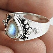 Trendy 925 Sterling Silver Labradorite Gemstone Ring Jewelry Wholesaler India