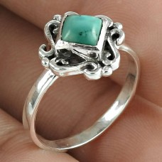 Scrumptious Turquoise Gemstone 925 Sterling Silver Ring Jewelry