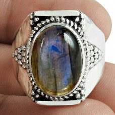 Trendy 925 Sterling Silver Labradorite Gemstone Ring Jewelry Mayorista