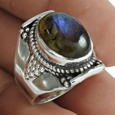 Latest Trend 925 Sterling Silver Labradorite Gemstone Ring Vintage Jewelry Supplier