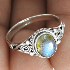 Trendy Labradorite Gemstone 925 Sterling Silver Ring Jewellery