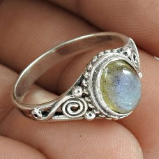 Latest Trend Labradorite Gemstone 925 Sterling Silver Ring Vintage Jewellery