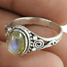 Fashion Labradorite Gemstone 925 Sterling Silver Ring Antique Jewellery