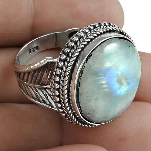 Rainbow Moonstone Gemstone Ring 925 Sterling Silver Wedding Gift Jewelry Supplier