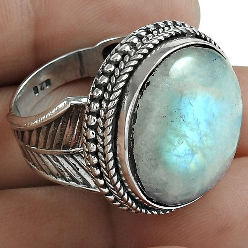 Rainbow Moonstone Gemstone Ring 925 Sterling Silver Women Gift Jewelry Manufacturer