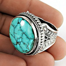 Tibetan Turquoise Gemstone Ring 925 Sterling Silver Artisan Jewelry
