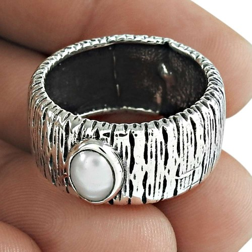 Pearl Gemstone Ring 925 Sterling Silver Wedding Gift Jewelry