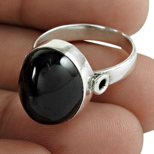 Black Star Gemstone Ring 925 Sterling Silver Women Fashion Jewelry