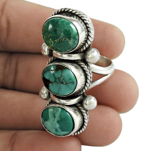 Turquoise Gemstone Ring 925 Sterling Silver Stylish Jewelry
